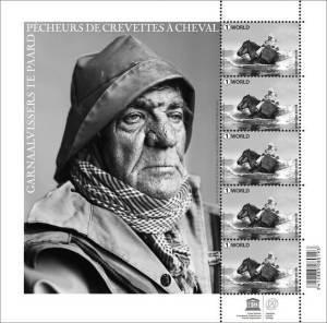 Nieuwe postzegel met garnaalvisser